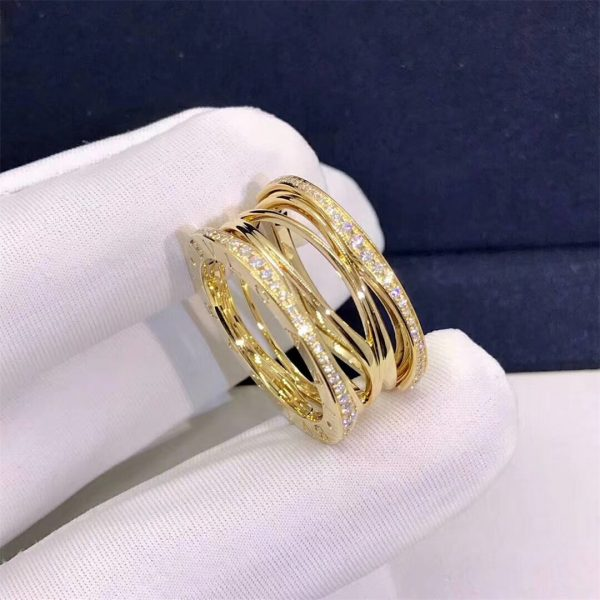 Bvlagri B.zero1 Design Legend four-band ring in 18 kt rose gold set with pavé diamonds (0.61 ct) on the edges