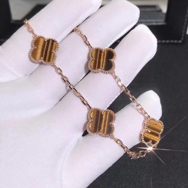 Vintage Alhambra bracelet, 5 motifs Yellow gold, Tiger Eye