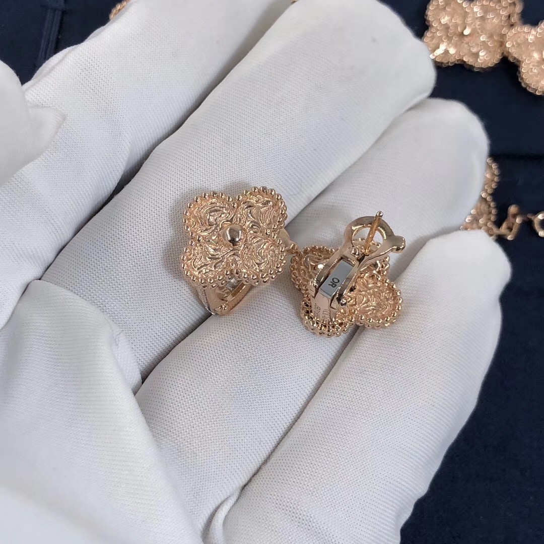 Pure 18k Rose Gold Van Cleef Arpels Vintage Alhambra Earrings Of 18k Gold Van Cleef Arpels Jewelry International Brand Replica Jewelry For Sale Make In Real 18k Gold And