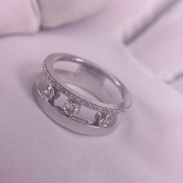 Pure 18K White Gold Messika Move Romane Diamonds Ring Custom