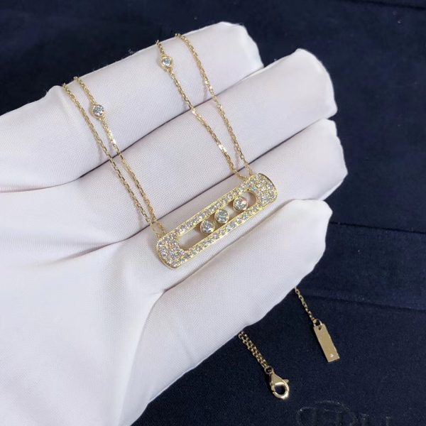 Pure 18K Yellow Gold Messika Move Joaillerie pavé diamond necklace