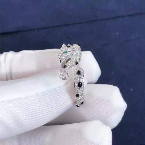 Real 18k gold Panthère de Cartier ring with full diamonds